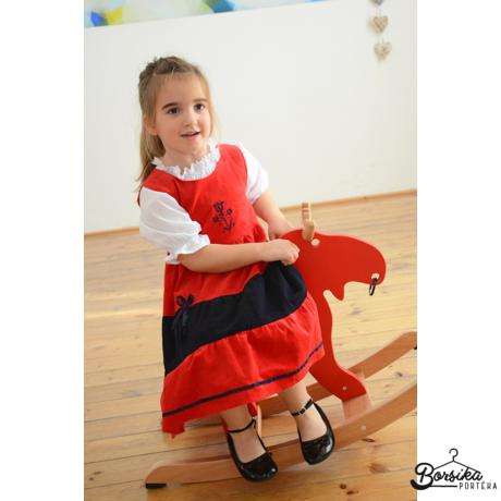 Piros-kék kordbársony ruha