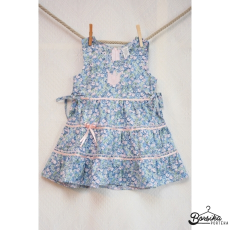 Kék-rózsaszín, apró virágos nyári lány ruha
