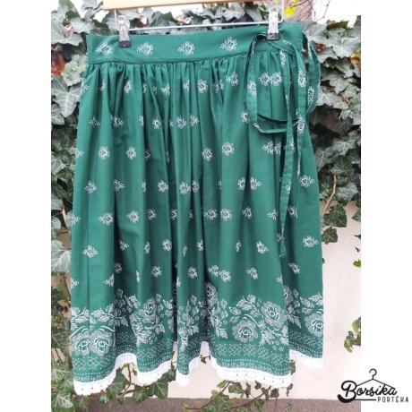 Borsika Portéka - Zöld, nagy virágos, bordűrös PÖRGŐS néptáncos szoknya megkötővel (290 cm