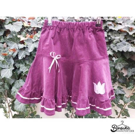 Borsika Portéka - Világos padlizsán PÖRGŐS, kordbársony lány szoknya taft tulipán díszítéssel rózsaszín szatén masnival