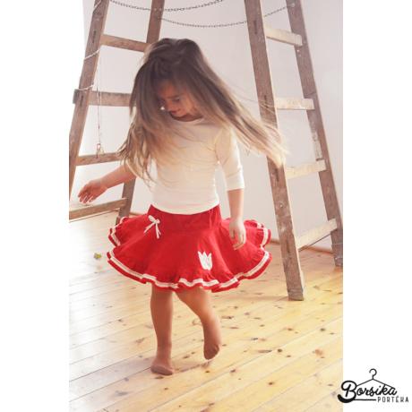 Piros, PÖRGŐS, kordbársony lány szoknya vajszínű díszítéssel