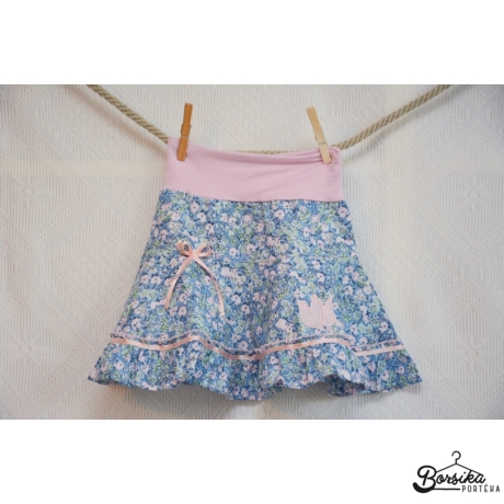 Kék-rózsaszín, apró virágos, nyári lány szoknya