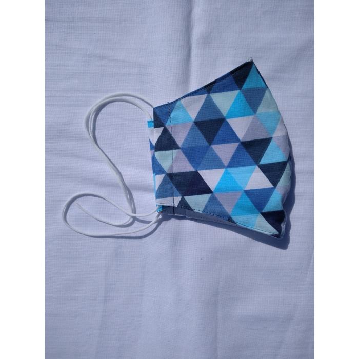 SZÁJMASZK Designer, 3 rétegű, Kék Háromszög Mintás, Orrmerevítős
