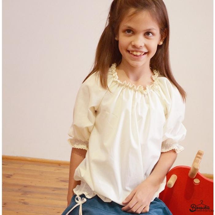 Vajszínű lányka blúz (alul gumizott)
