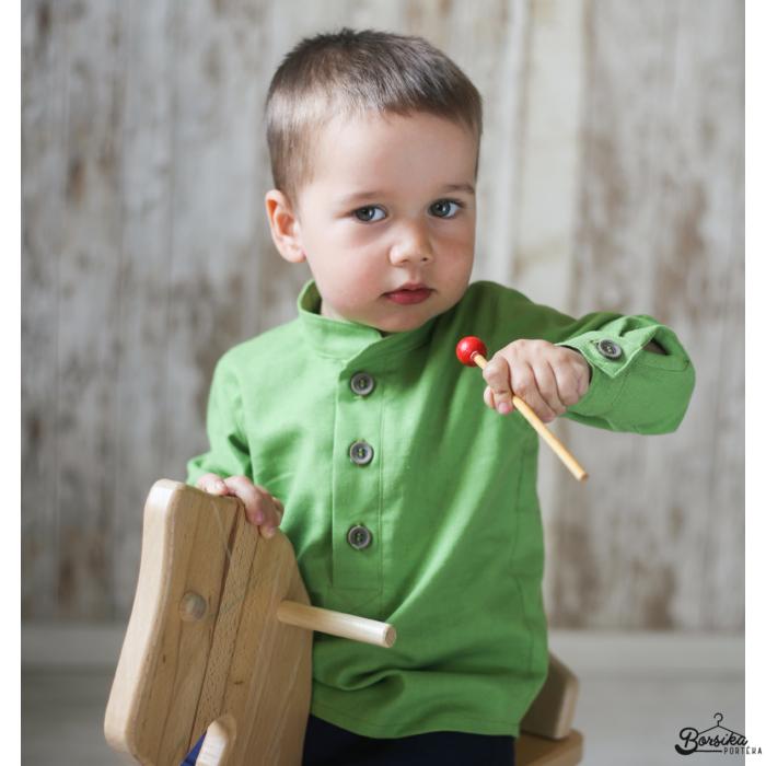 Borsika Portéka - Pisztácia zöld színű, lenvászon fiú ing
