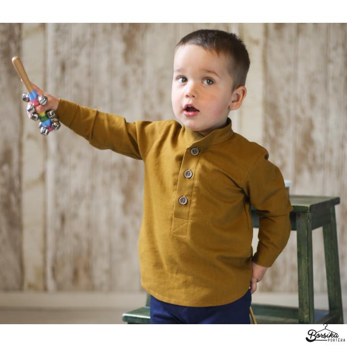 Borsika Portéka - Rozsdabarna színű, lenvászon fiú ing