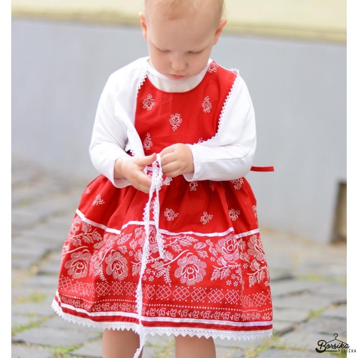 Bordűrös pirosfestő mintájú lány ruha