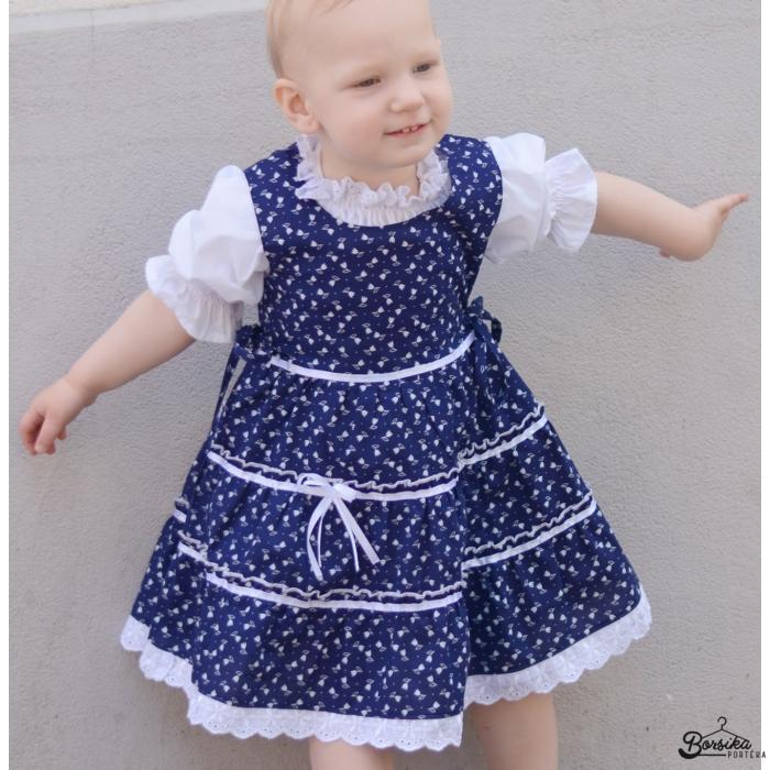 Sötétkék színű, tulipános kékfestő mintájú lány ruha