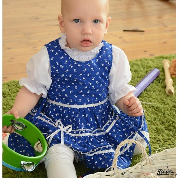 Középkék színű tulipános kékfestő mintájú lány ruha