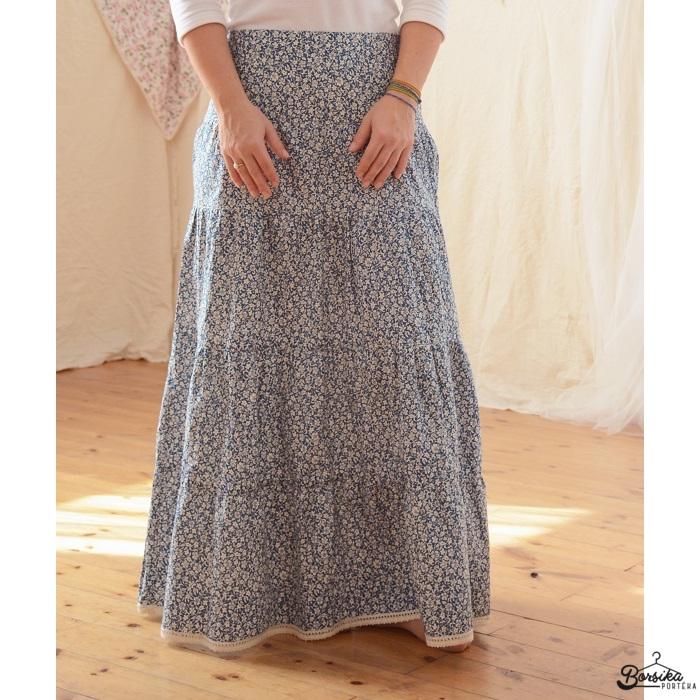Kék, apró virágos, női szoknya