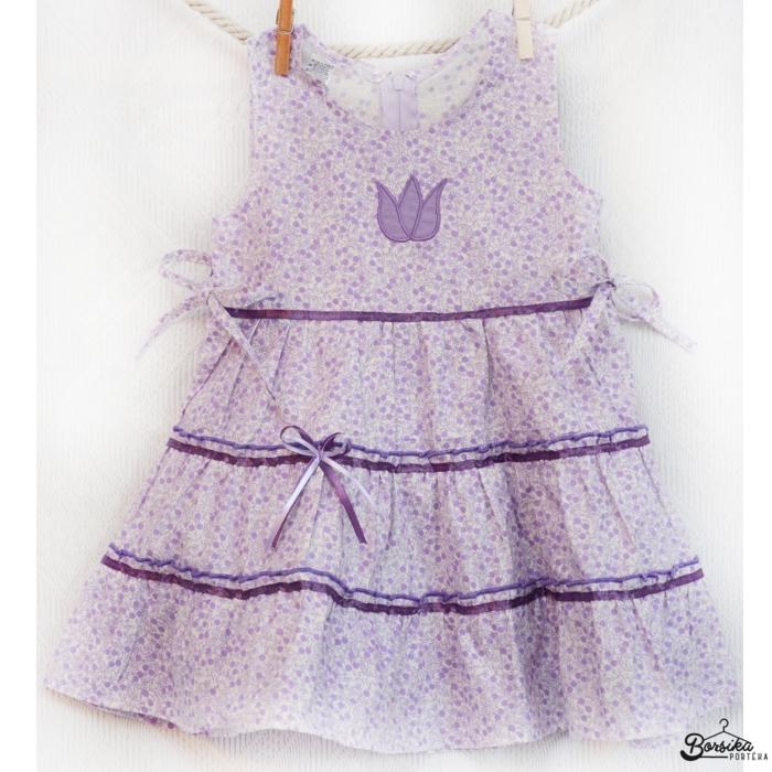 Lila-vajszínű, apró virágos nyári ruha