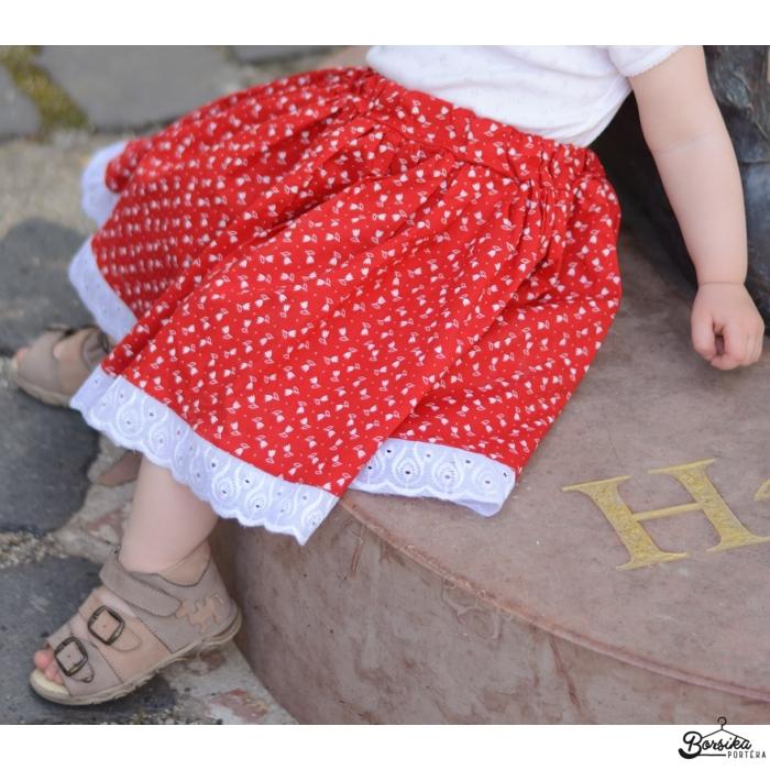 Tulipános, PÖRGŐS, pirosfestő mintájú néptáncos szoknya gumis derékkal (290 cm körben)