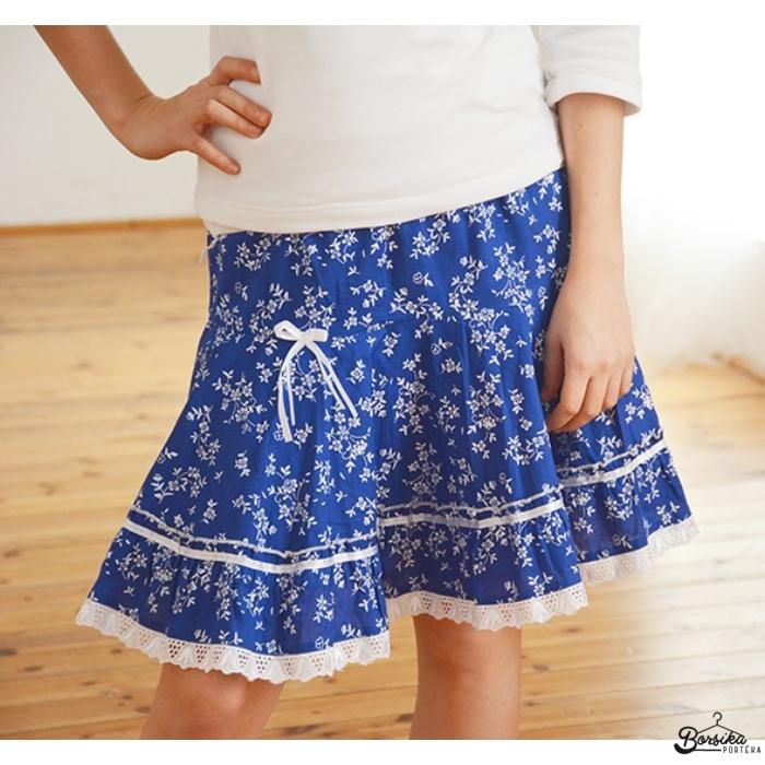Középkék színű, PÖRGŐS, nagy virágos, kékfestő mintájú lány szoknya