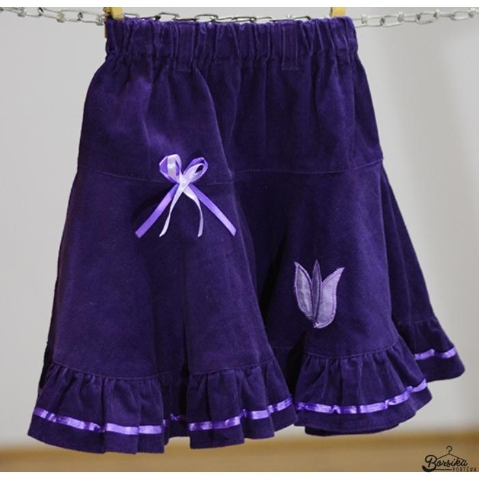 Lila, PÖRGŐS, kordbársony, lány szoknya lila díszítéssel