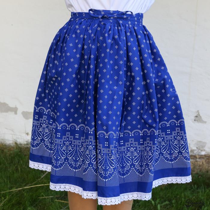 Borsika Porték - Középkék, új bordűrös, kékfestő mintásEXTRA PÖRGŐS, néptáncos szoknya (440 cm körben, 3 széhossz)