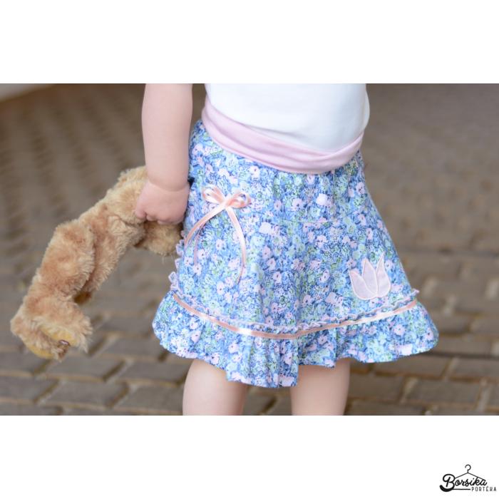 Kék-rózsaszín, apró virágos, nyári pörgős szoknya