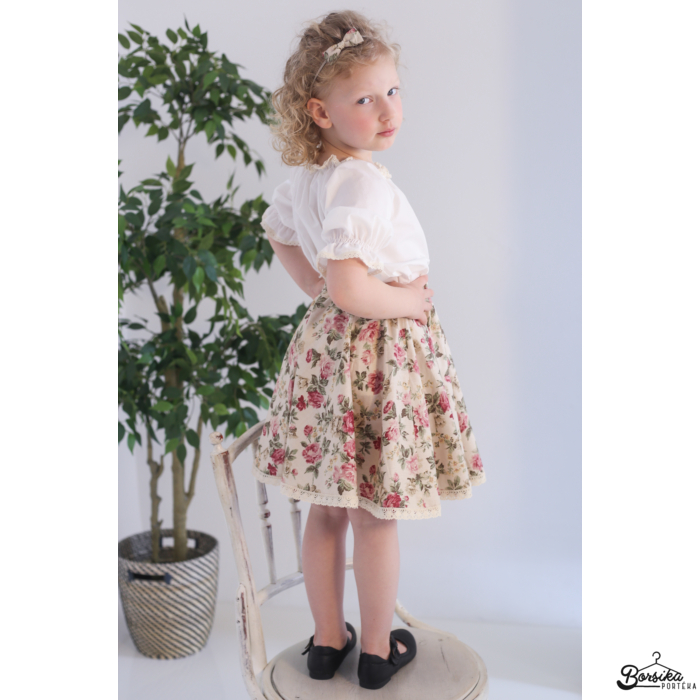 Lányka nyári szoknya, bézs, pirosrózsa mintás