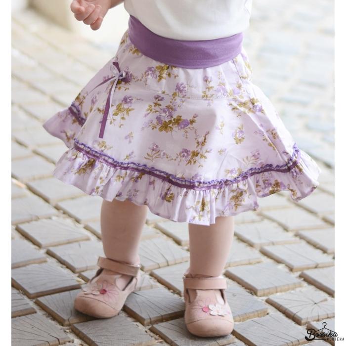 Lila, nagy virágos, nyári pörgős szoknya